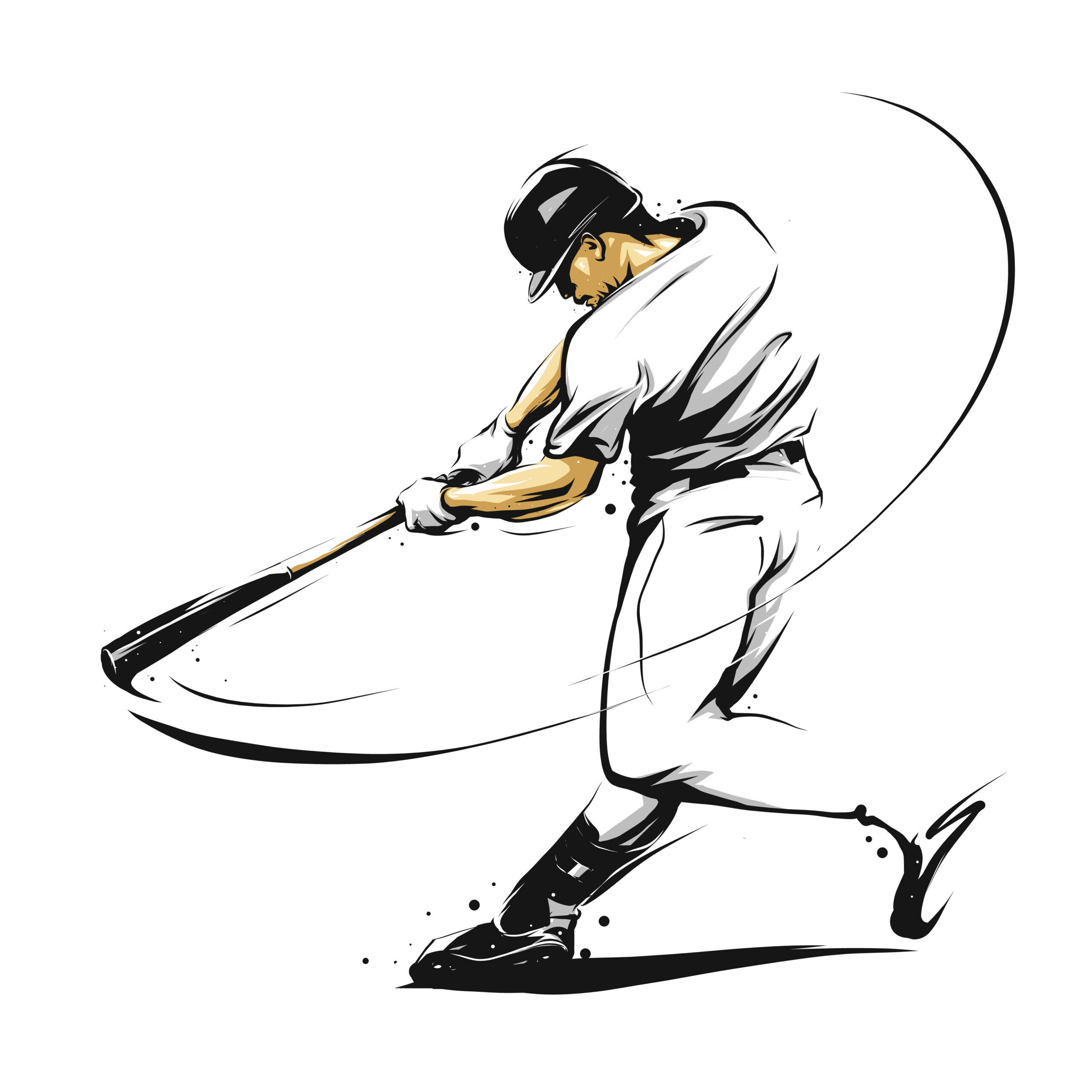 baseball player hitting ball swinging